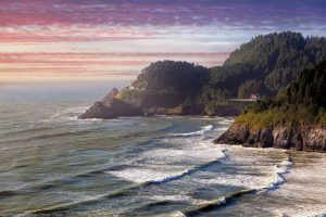 Heceta Head Lighthouse at Sunset